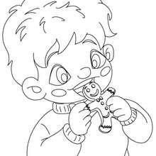 Desenho para colorir de uma criança comendo biscoitos de  de Natal