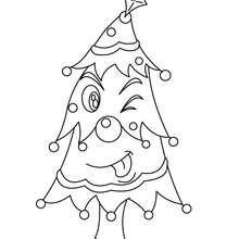 Desenho para colorir de uma Árvore de Natal engraçada