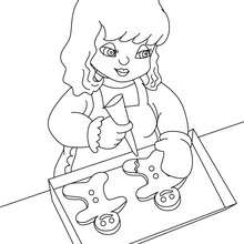 Desenho para colorir de uma menina fazendo cookies de  de Natal