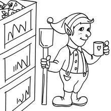 Desenho de Duendes trabalhando na fábrica do Papai Noel para colorir