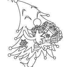 Desenho para colorir de uma Árvore de Natal feliz