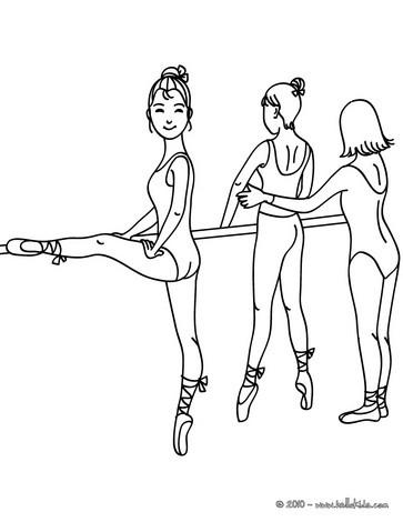 Desenho de uma professora de balé ensinando e as bailarinas treinando as posições para colorir