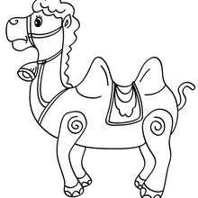 Desenho para colorir de um camelo no Natal
