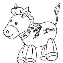 Desenho para colorir de um burrinho para o Natal