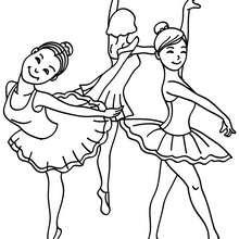 Desenho de um grupo de bailarinas jovens para colorir