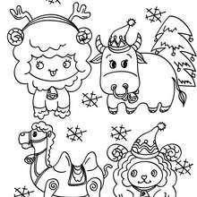 Desenho de diversos animaos no Natal para colorir