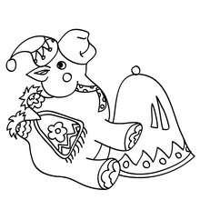 Desenho para colorir de um camelo sentado no Natal