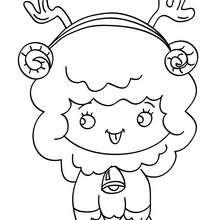 Desenho para colorir de um cordeiro sentado no Natal
