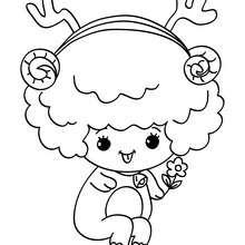 Desenho para colorir de uma ovelha sentado no Natal