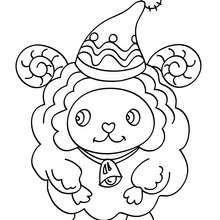 Desenho para colorir de uma ovelha com um gorro de Natal