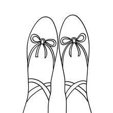 Desenho para colorir de uma sapatilha de balé clássico