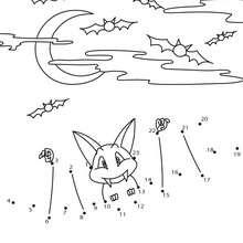 Jogo de ligar os pontos - Morcego do Dia das Bruxas