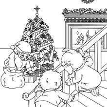 Desenho de crianças observando o Papai Noel para colorir