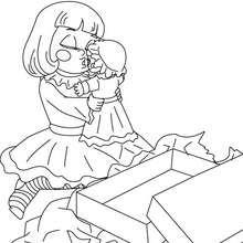 Desenho de uma menina com sua boneca para colorir