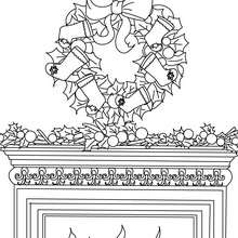 Desenho de uma guirlanda de Natal sob a lareira para colorir