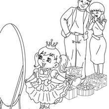 Desenho de uma criança com seu vestido de princesa para colorir