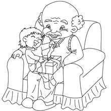 Desenho de um menino com seu avô para colorir