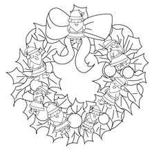 Desenho de uma guirlanda de Natal com o Papai Noel para colorir