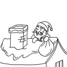 Desenho do Papai Noel subindo no telhado para colorir