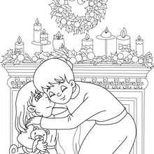 Desenho para colorir de uma mãe com sua filha