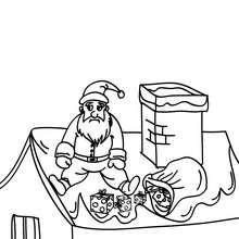 Desenho do Papai Noel sentado no telhado  para colorir