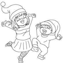 Desenho para colorir de crianças brincando no Natal