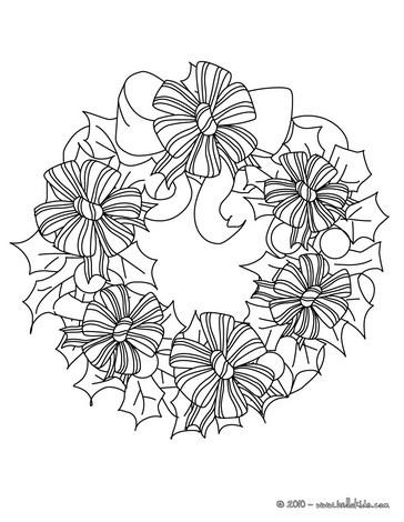 Desenho de uma guirlanda de Natal de laços para colorir