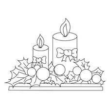 Desenho para colorir de velas de enfetadas para o Natal
