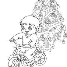 Desenho para colorir de um menino com sua bicicleta