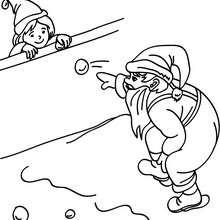 Desenho do Papai Noel jogando bolas de neve para colorir