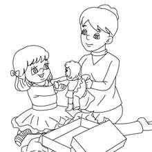 Desenho para colorir de uma mãe com sua filha e com os presentes de Natal