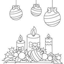 Desenho de velas e bolas de Natal para colorir