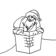 Desenho do Papai Noel escorregando dentro da chaminé para colorir