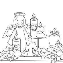 Desenho de velas de Natal e anjinhos para colorir