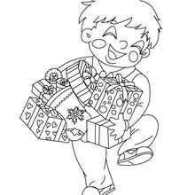 Desenho para colorir de um menino feliz com seus presentes de Natal