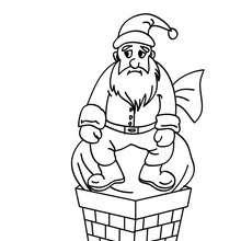 Desenho do Papai Noel bloqueado na chaminé para colorir