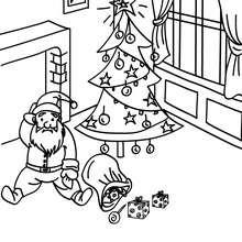Desenho do Papai Noel caindo no chão para colorir