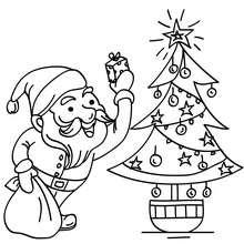 Desenho do Papai Noel com uma Árvore de Natal para colorir