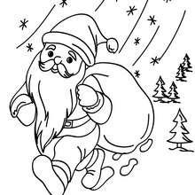 Desenho do Papai Noel andando na neve para colorir