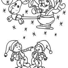 Desenho do Papai Noel com o Rodolfo para colorir online