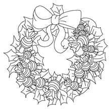 Desenho de uma coroa de Natal com bombons para colorir