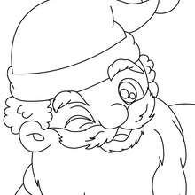 Desenho do Papai Noel fazendo uma piscadela para colorir