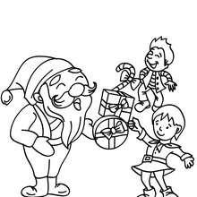 Desenho do Papai Noel com crianças para colorir