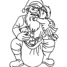 Desenho do Papai Noel com uma adorável criança para colorir