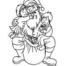 Desenho do Papai Noel com crianças felizes colorir online
