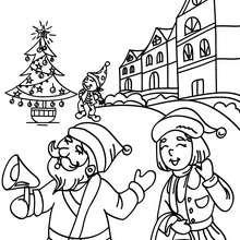 Desenho da cidade do Papai Noel para colorir