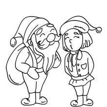 Desenho do Papai Noel com um de seus ajudantes Duendes  para colorir