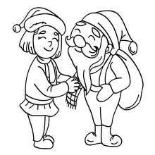 Desenho do Papai Noel com um Elfo para colorir