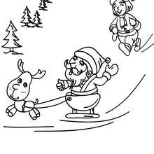 Desenho do Papai Noel com o Rodolfo para colorir