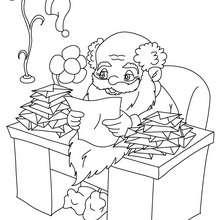 Desenho para colorir do Papai Noel lendo suas cartas